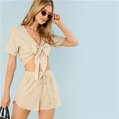 SHEIN Multicolor Vacation Boho Bohemian Beach Striped V Neck Short Sleeve Drawstring Crop Top With Shorts Summer Women Twopiece - Bella LaVie Collection