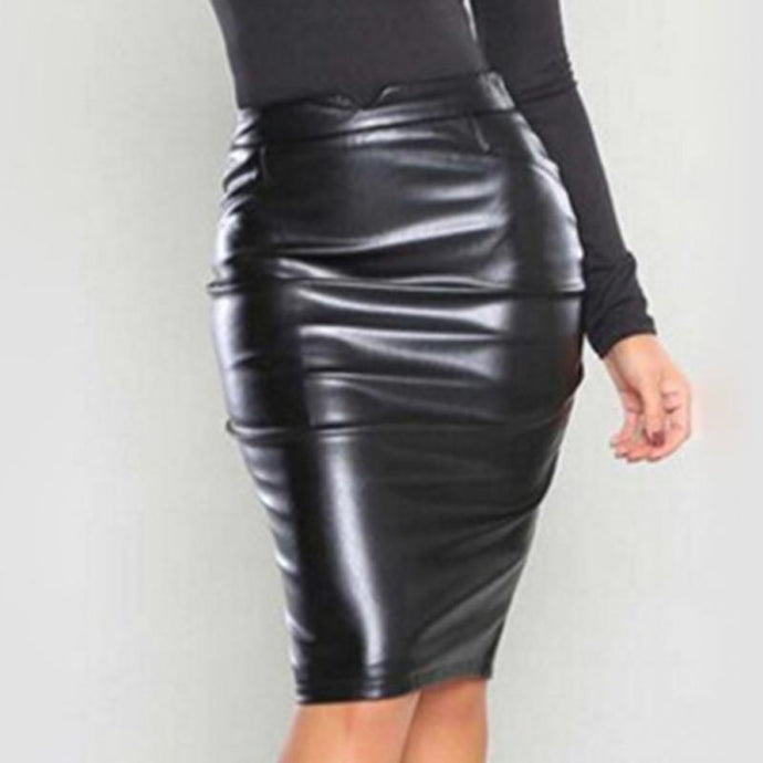 Hot Fashion Women Sexy Solid High Waist Faux Leather Skirt  Female Bodycon Pencil Office Party Skirt 5 Colors to Choose - Bella LaVie Collection