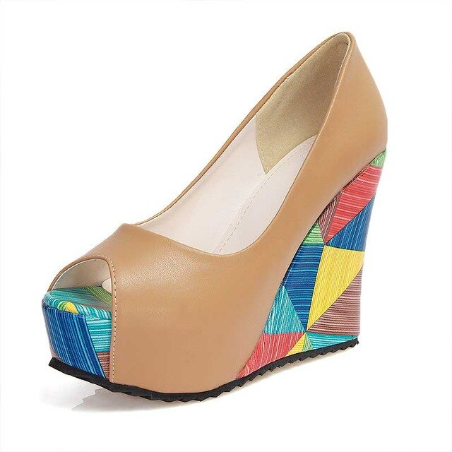 Lady's Geometric Print High Heels Wedges Open Toe Shoes - Bella LaVie Collection