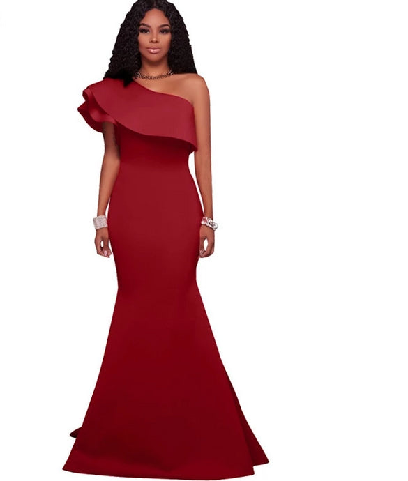 Ruffle Off The Shoulder Evening Long Maxi Dress - Bella LaVie Collection