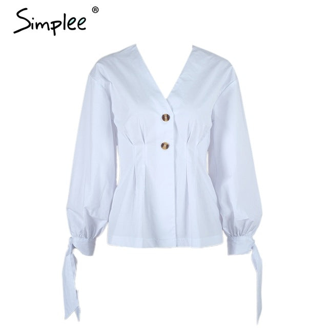 Simplee V neck front button tie up women blouse shirt Vintage lantern sleeve slim ruffle waist blouse Autumn winter white blouse - Bella LaVie Collection