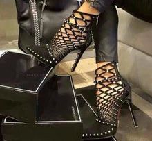 Silver Studded Cut Out Caged Ankle Boots - Bella LaVie Collection