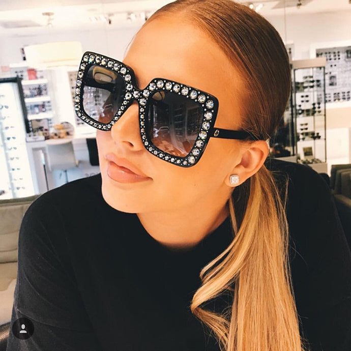 Luxury Rhinestone Embedded Over-Sized Designer Sunglasses - Bella LaVie Collection