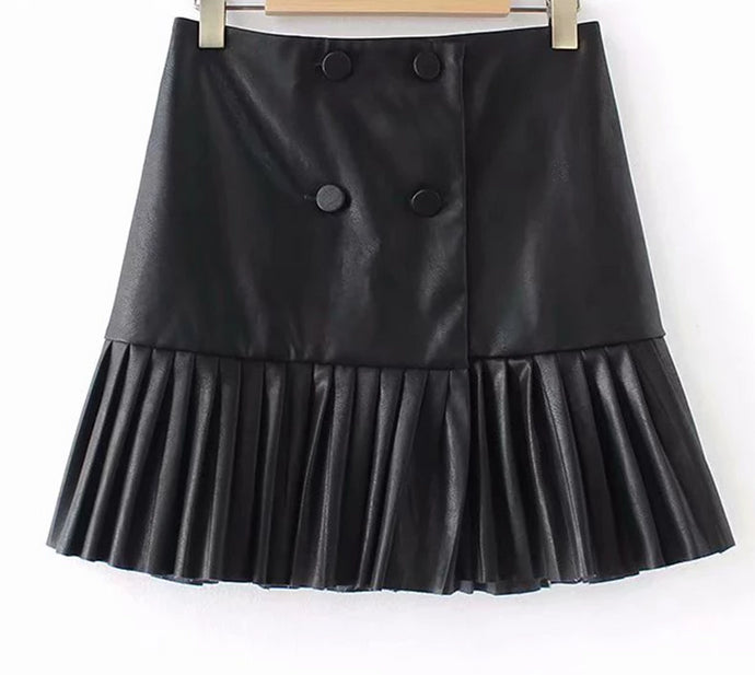 Fashion Women Faux Leather Pleated Skirt European Style Front Double Button  High Waist Vintage Black  Mini Skirt - Bella LaVie Collection