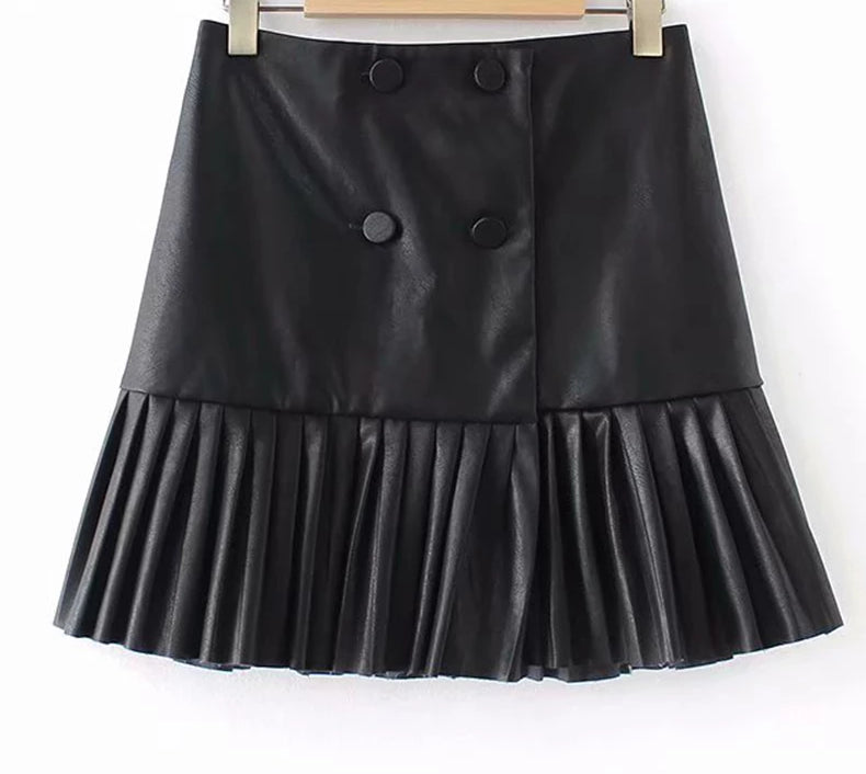 Leather Pleated European Style Pleated Skirt - Bella LaVie Collection