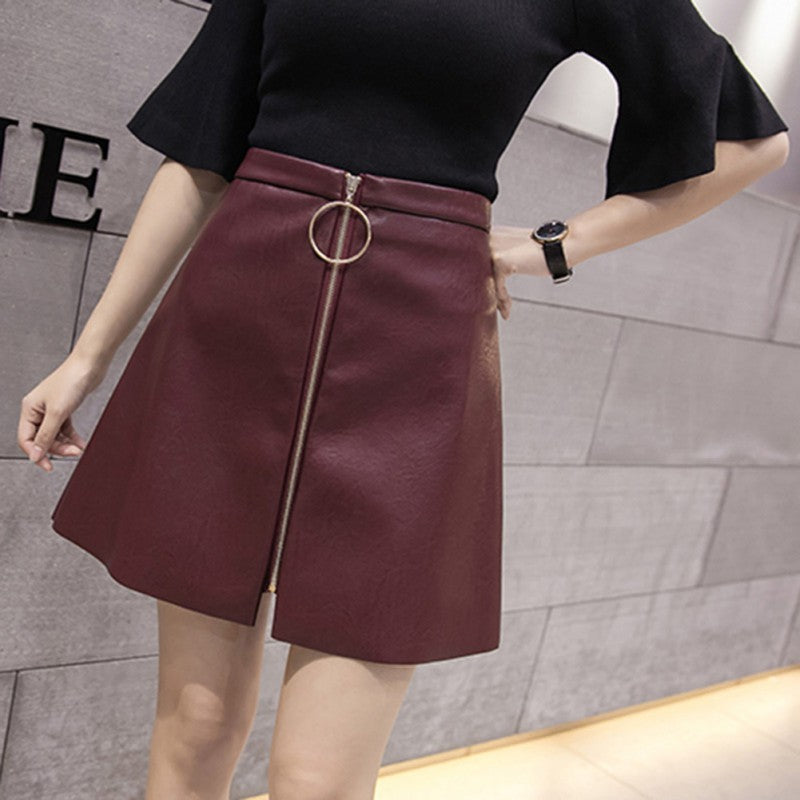 Women's Skirts Autumn/Winter Solid Button Mini Skirts For Girls Fashion PU High Waist Skirt hot - Bella LaVie Collection