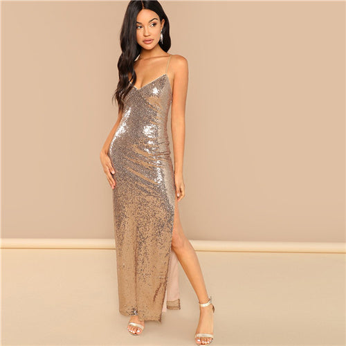 Gold  Backless Split Side Sequin Dress - Bella LaVie Collection