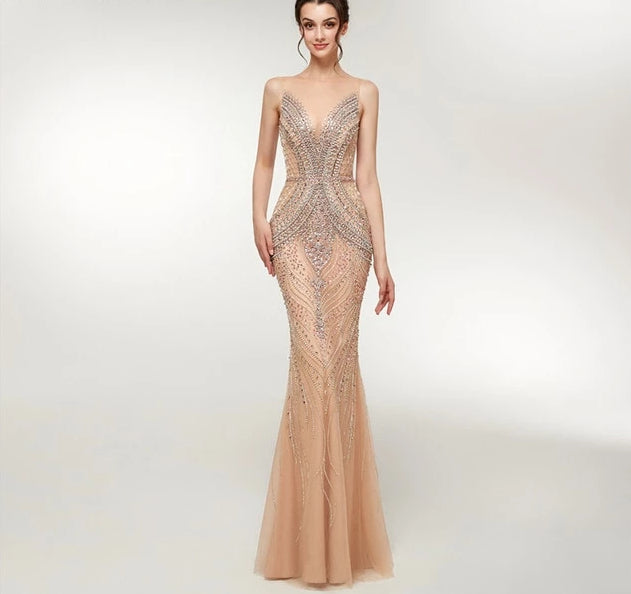 Luxurous beading evening gown long elegant illusion - Bella LaVie Collection