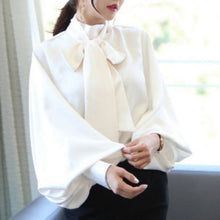 Elegant Satin Lantern Sleeve and Bow Tie Neck Accented Blouse