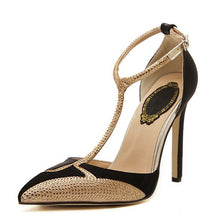 T-Strap  Pointed Toe Gold Rhinestone Pumps - Bella LaVie Collection