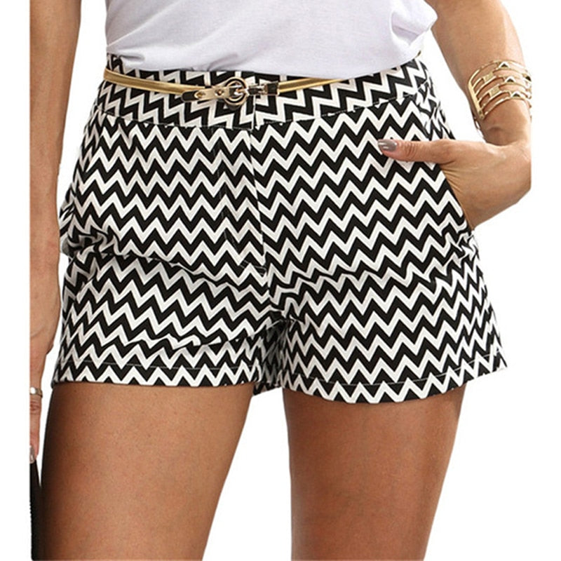 Chevron Print Black and White Mid Waist  Shorts - Bella LaVie Collection