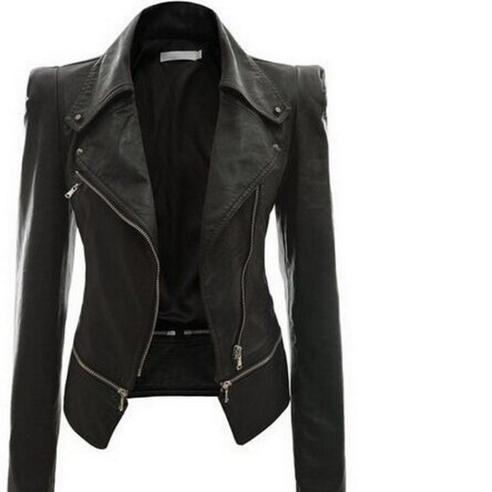 Black Leather Zipper Accented Moto Jacket - Bella LaVie Collection