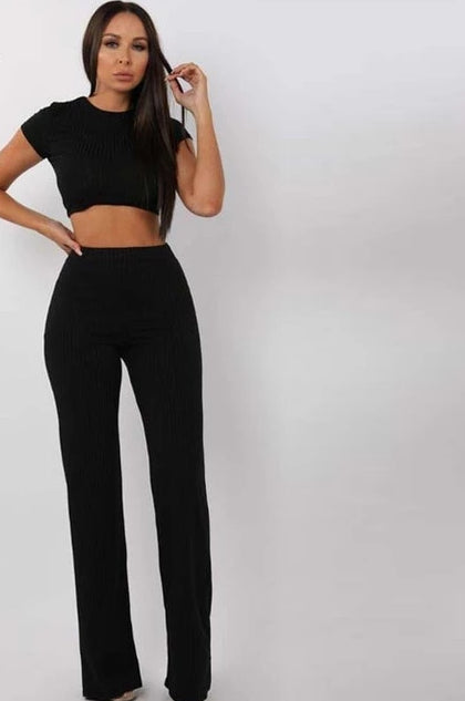 2 Two Piece Ribbed and Round Neck Crop Top With Matching Pant - Bella LaVie Collection