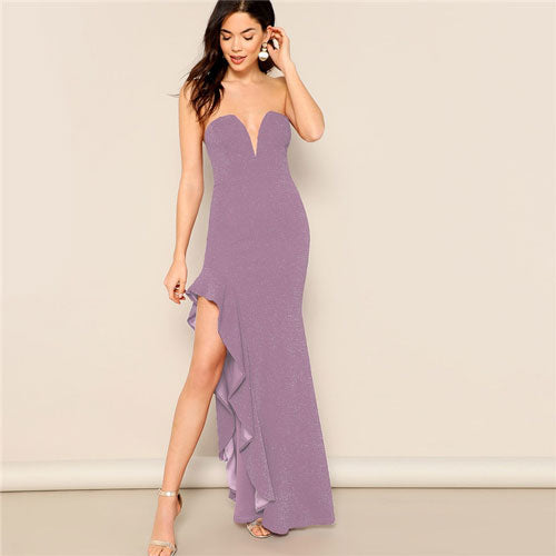 Purple Asymmetrical Ruffle Halter Top V Neck Sleeveless Maxi Dress - Bella LaVie Collection