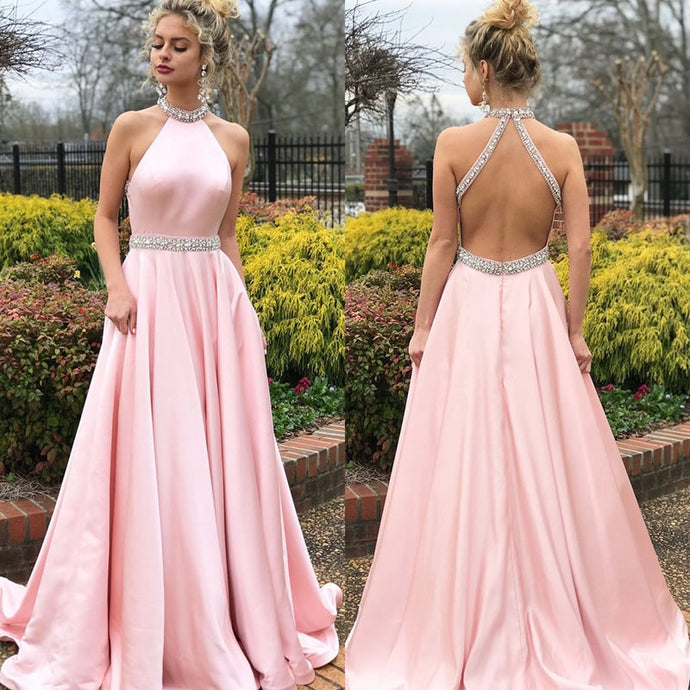 Elegant Pink Satin Halter Crystal Beaded Full Length Backless Gown - Bella LaVie Collection