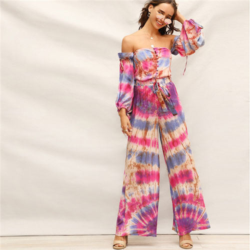 Boho Multicolor Halter Top and Drawstring Waist Tie Dye Wide Leg Pant Set - Bella LaVie Collection
