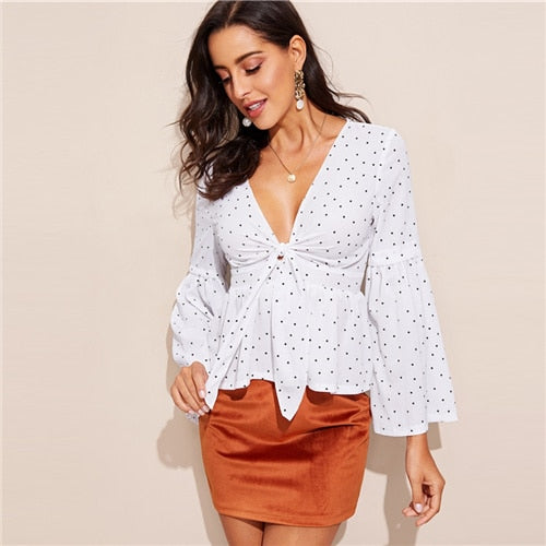 White and Black Polka Dotted Plunging V Neck Bell Sleeve Blouse - Bella LaVie Collection