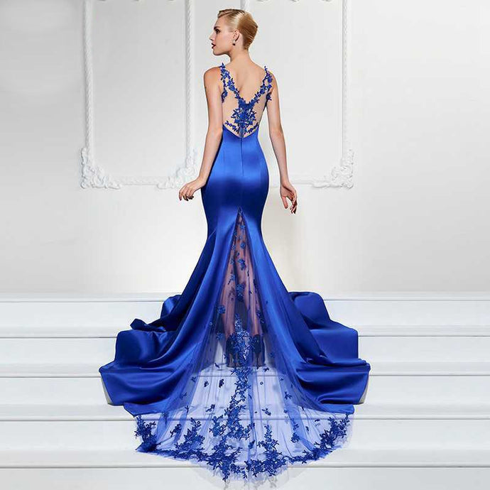Elegant Satin and Lace Sleeveless Style Mermaid Gown - Bella LaVie Collection