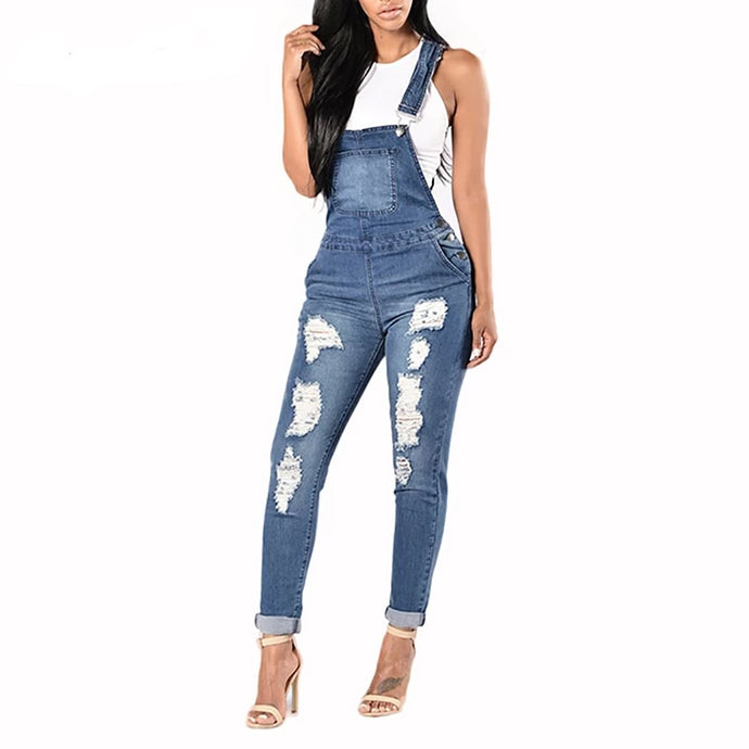 Cool Denim Pencil Styled Overalls - Bella LaVie Collection