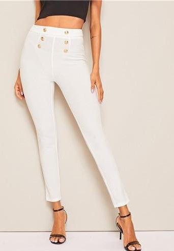 Double Breasted Chic Mid Waist Skinny Pant - Bella LaVie Collection