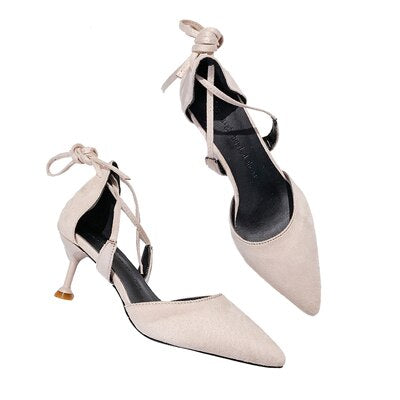 Semi-High Heel Lace Up Pointed Toe Stilettos - Bella LaVie Collection