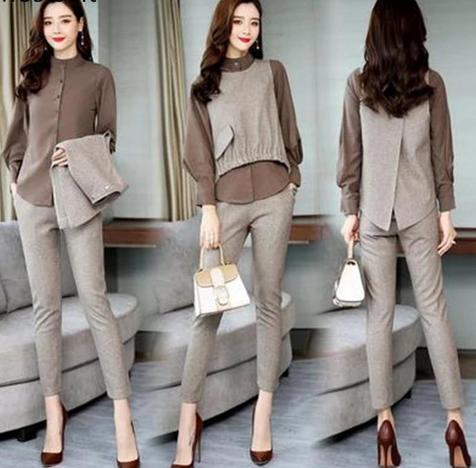 3 Piece Long Sleeve Blouse Vest and Pants Set - Bella LaVie Collection