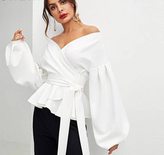 Elegant Lantern Sleeve Off The Shoulder Peplum Style Blouse - Bella LaVie Collection