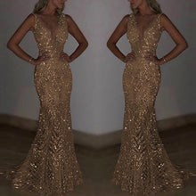 Mermaid Style Sequins V-Neck Gown - Bella LaVie Collection