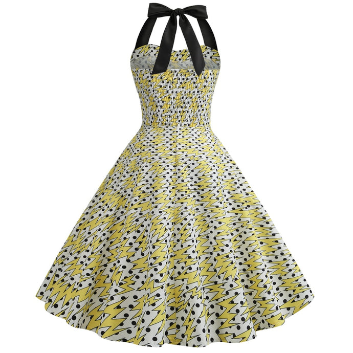 Multi Print  Swing Button Halter Hepburn Dress - Bella LaVie Collection