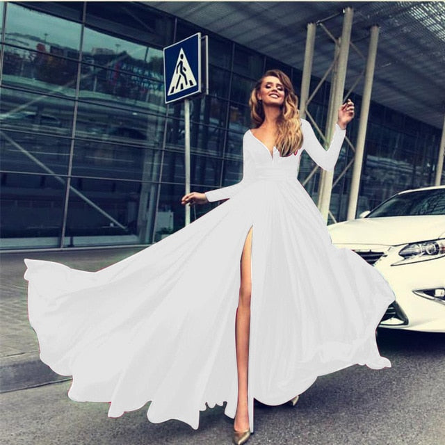 Elegant Lace and  Chiffon FormalGown Dress Womens full Sleeve Long Dresses - Bella LaVie Collection