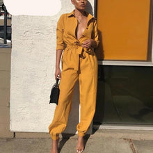 Belted Long Sleeve Glamed Jumpsuit