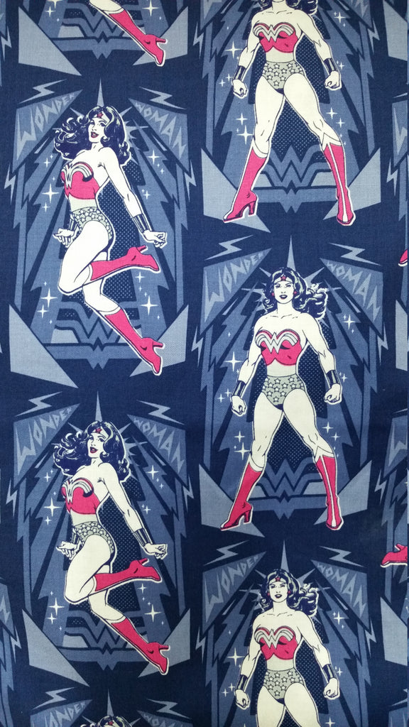 Blue and pink Wonder Woman pose pattern
