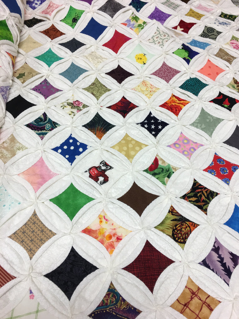 cathedral window hand stitched quilt