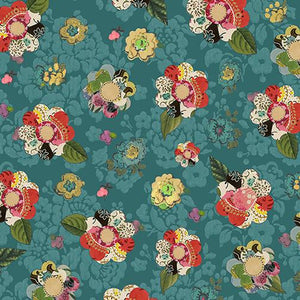Collage Flower Dark Teal