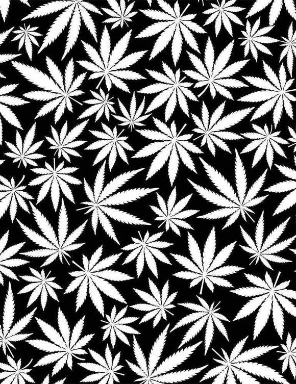 Glow Cannabis Leaves B&W