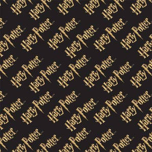 Harry Potter Black and Metallic Double Gauze