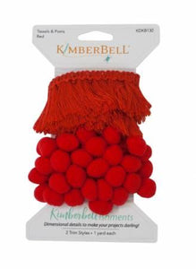 Kimberbellishments Tassels & Poms Trim Red