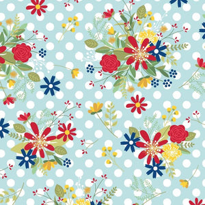 Red White & Bloom Polka Dot Flower Blue