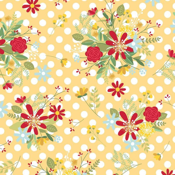 Red White & Bloom Polka Dot Flower Yellow