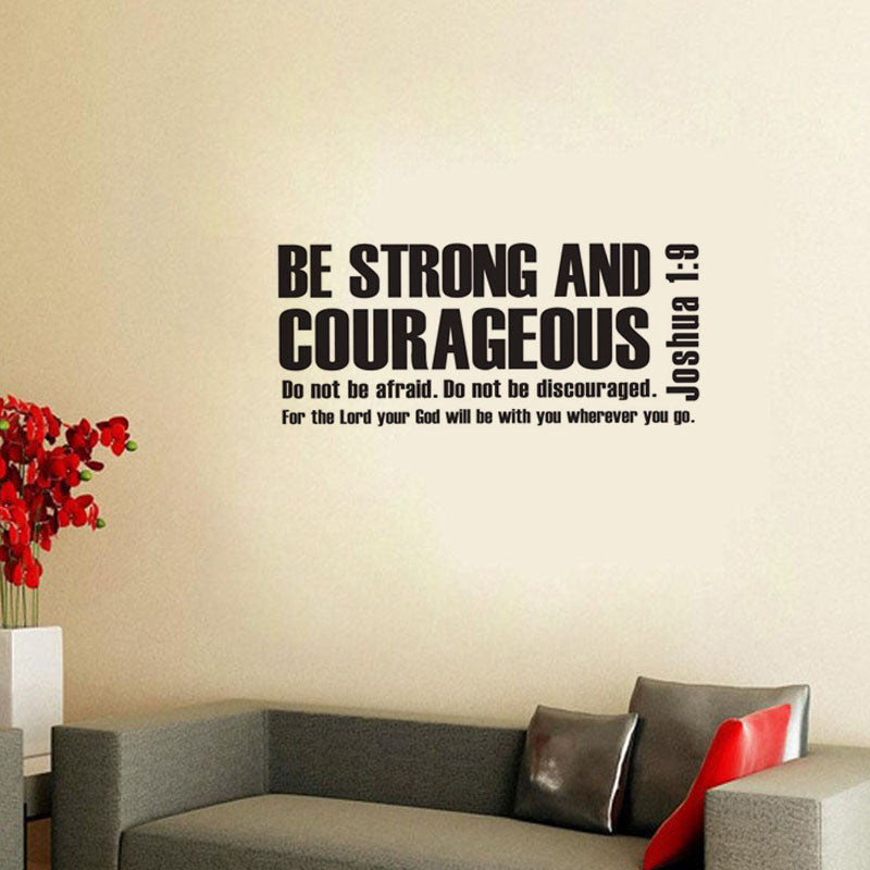 Be Strong And Courageous Bible Verse Scripture Wall Decals Vinyl Stickers Part 52