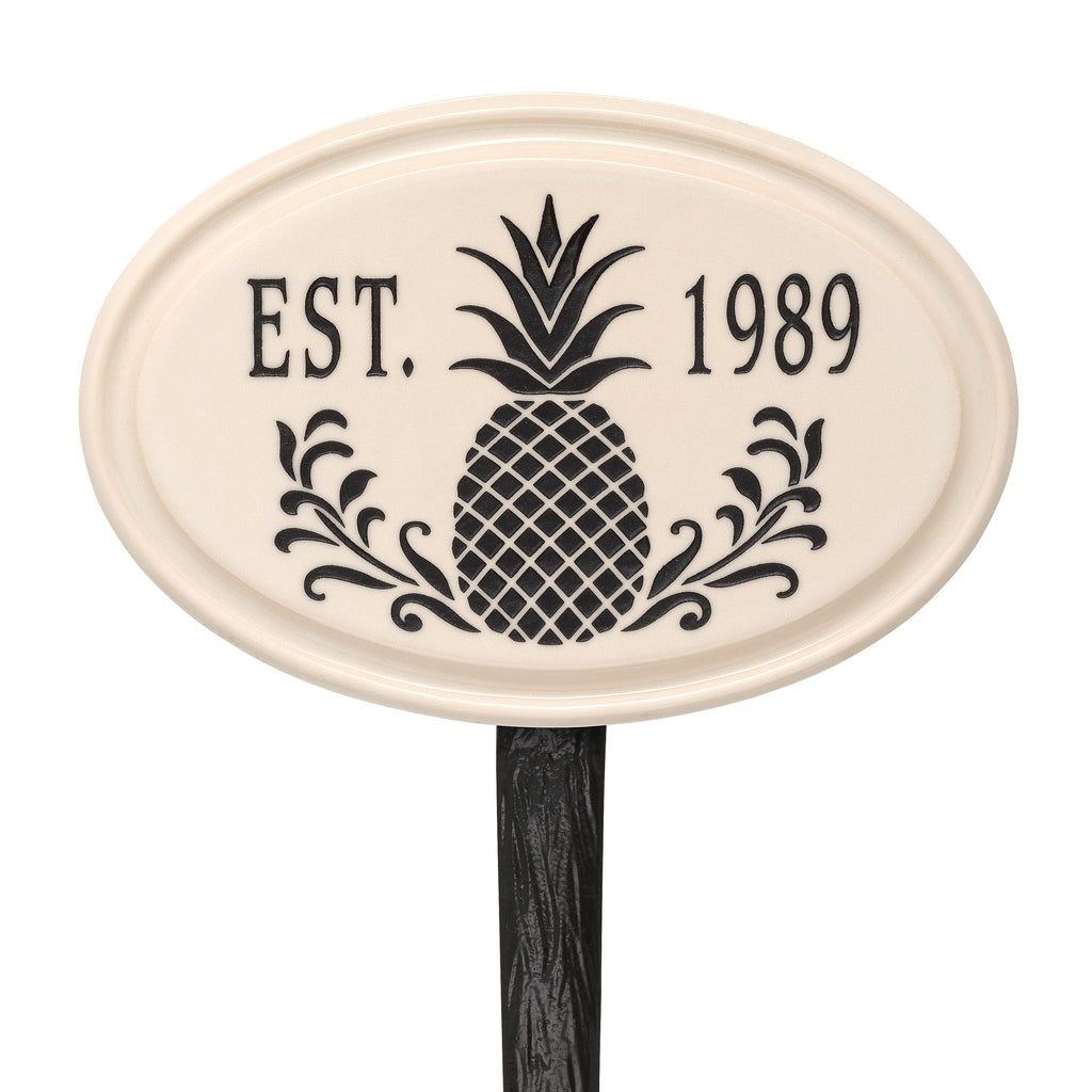Ceramic Pineapple Established Lawn Plaque