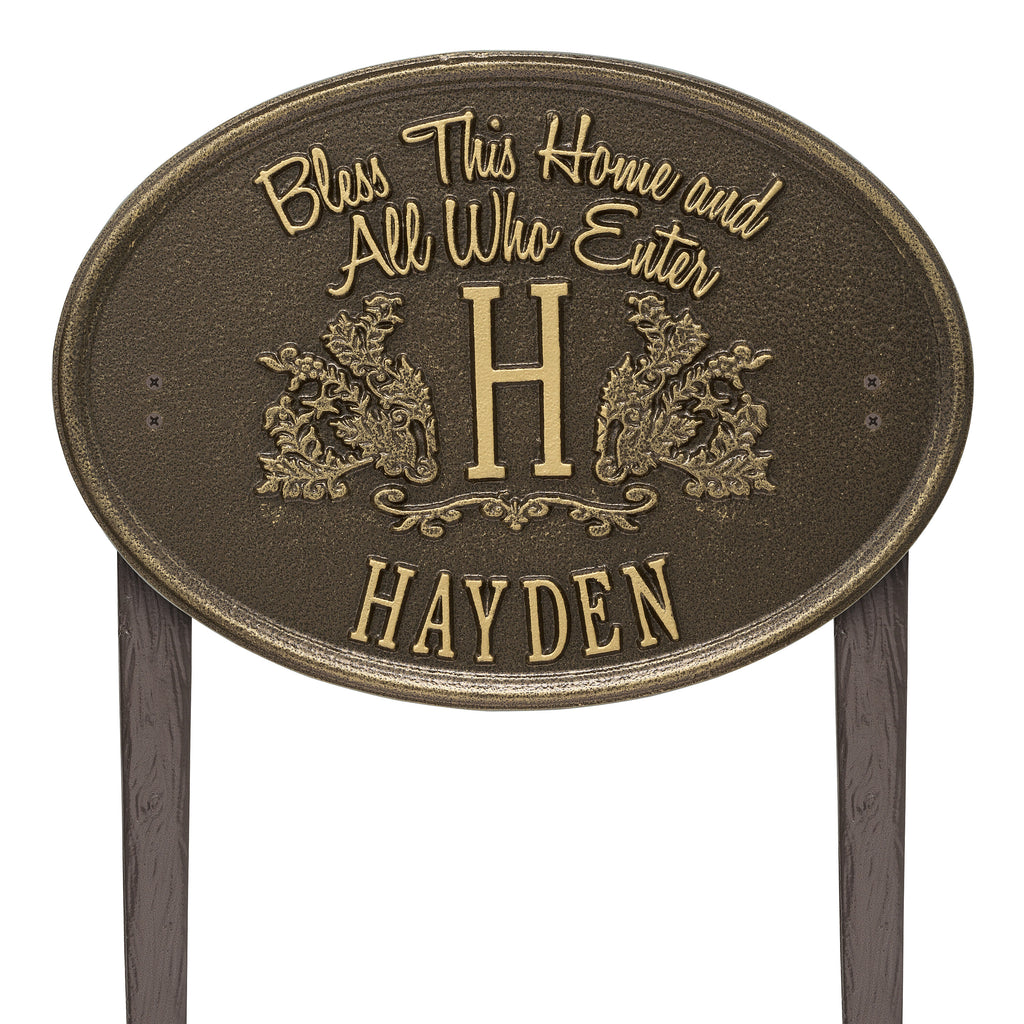 Bless This Home Monogram Oval Lawn Plaque