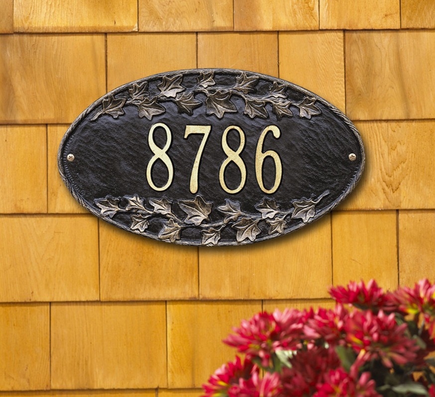 Ivy Oval Wall Address Plaque