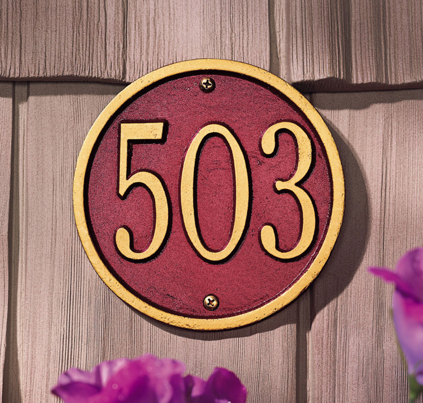 "6"" Diameter Round Wall Address Plaque"
