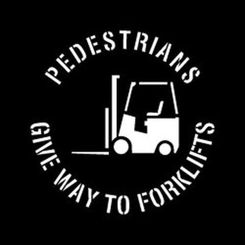 Pedestrians Give Way to Forklift Stencil