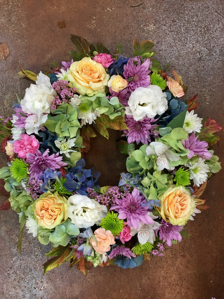 Walk in the Garden Urn or Easel Wreath