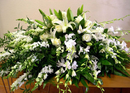 Half Casket Spray, Soft White Garden - PETALS Design and Living Gifts
