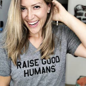 Raise Good Humans~Gray Vneck Tee