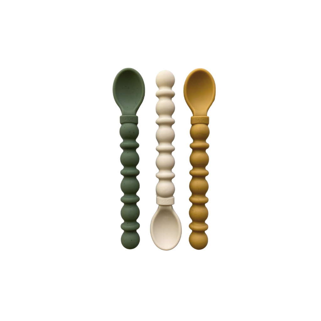 Silicone Teethy Utensil | Speckled Spruce-Ivory-Mustard