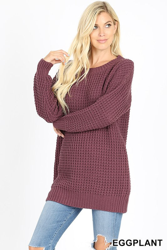The Favorite Knit Sweater in Eggplant